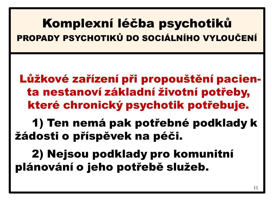 11 Komplexní léčba psychotiků PROPADY PSYCHOTIKŮ DO SOCIÁLNÍHO VYLOUČENÍ Lůžkové zařízení při propouštění pacien- ta nestanoví základní životní potřeb