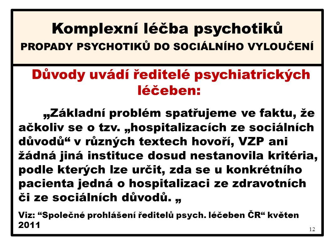 """12 Komplexní léčba psychotiků PROPADY PSYCHOTIKŮ DO SOCIÁLNÍHO VYLOUČENÍ Důvody uvádí ředitelé psychiatrických léčeben: """" Základní problém spatřujeme"""