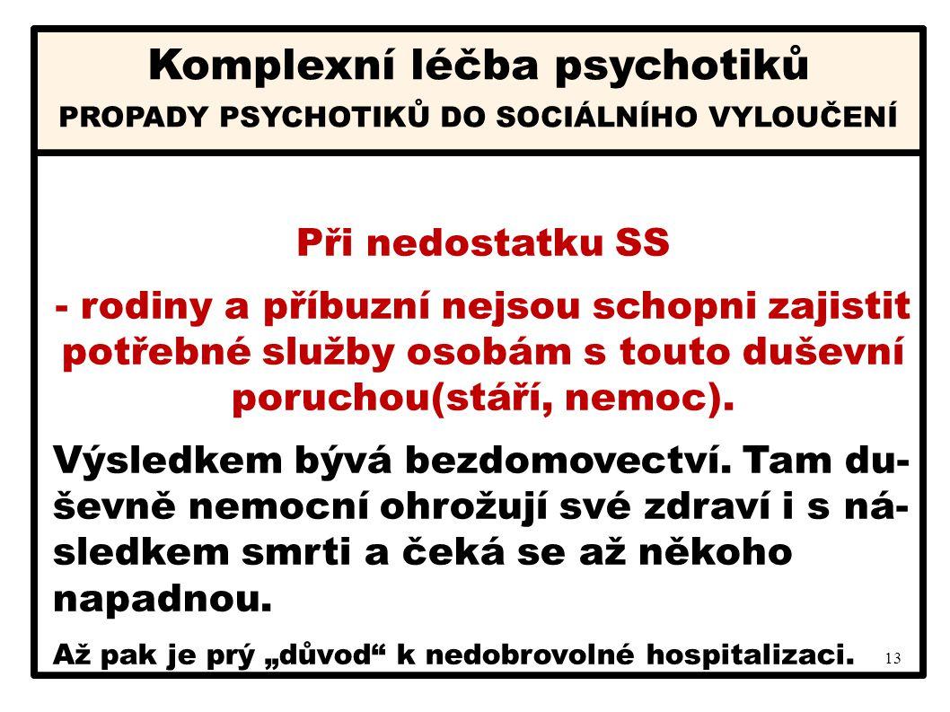13 Komplexní léčba psychotiků Při nedostatku SS - rodiny a příbuzní nejsou schopni zajistit potřebné služby osobám s touto duševní poruchou(stáří, nem
