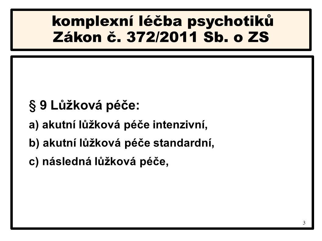 3 komplexní léčba psychotiků Zákon č. 372/2011 Sb. o ZS § 9 Lůžková péče: a) akutní lůžková péče intenzivní, b) akutní lůžková péče standardní, c) nás
