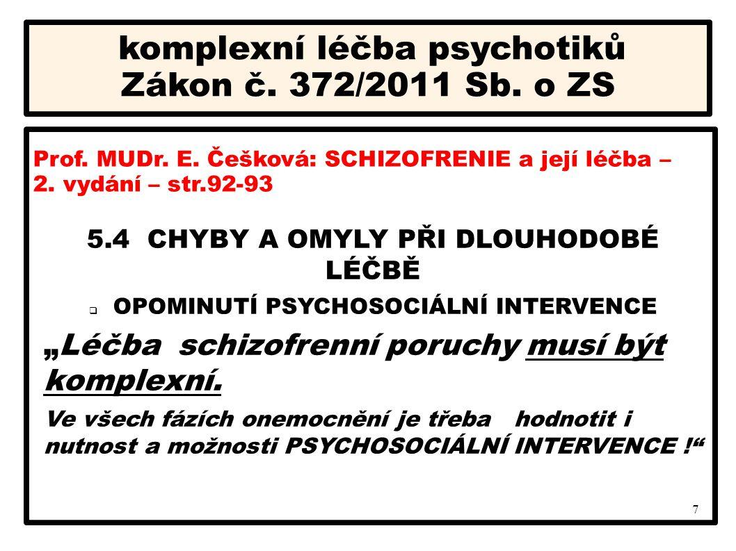"""7 komplexní léčba psychotiků Zákon č. 372/2011 Sb. o ZS 5.4 CHYBY A OMYLY PŘI DLOUHODOBÉ LÉČBĚ  OPOMINUTÍ PSYCHOSOCIÁLNÍ INTERVENCE """"Léčba schizofren"""