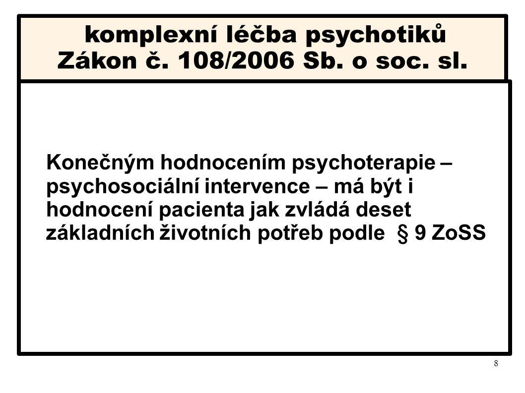 8 komplexní léčba psychotiků Zákon č. 108/2006 Sb. o soc. sl. Konečným hodnocením psychoterapie – psychosociální intervence – má být i hodnocení pacie