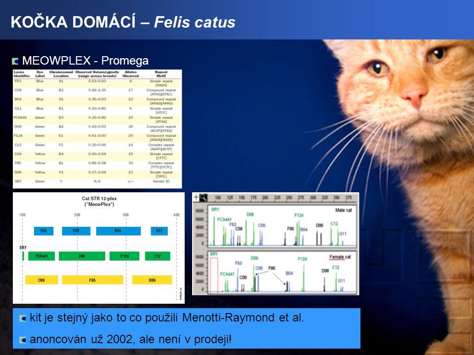 KOČKA DOMÁCÍ – Felis catus MEOWPLEX - Promega kit je stejný jako to co použili Menotti-Raymond et al.