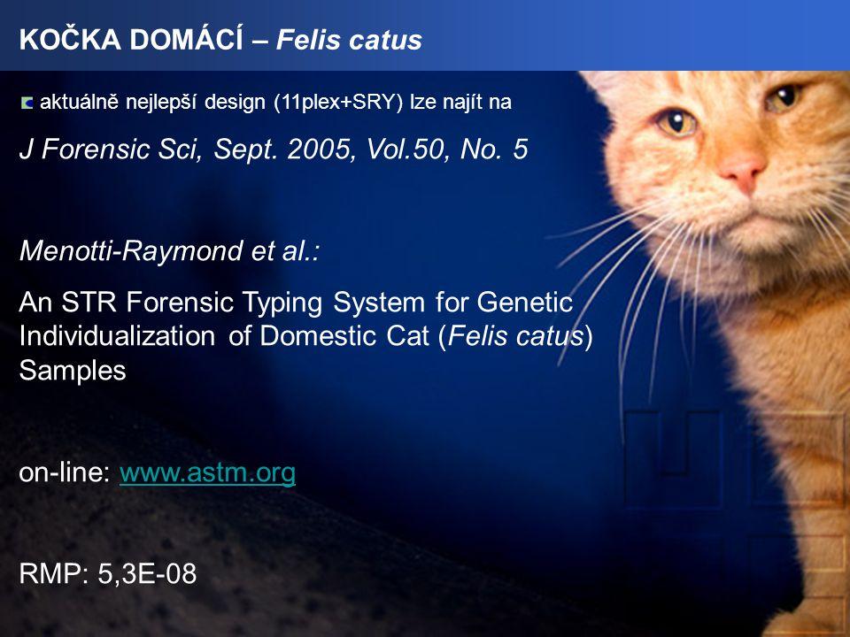 KOČKA DOMÁCÍ – Felis catus aktuálně nejlepší design (11plex+SRY) lze najít na J Forensic Sci, Sept.
