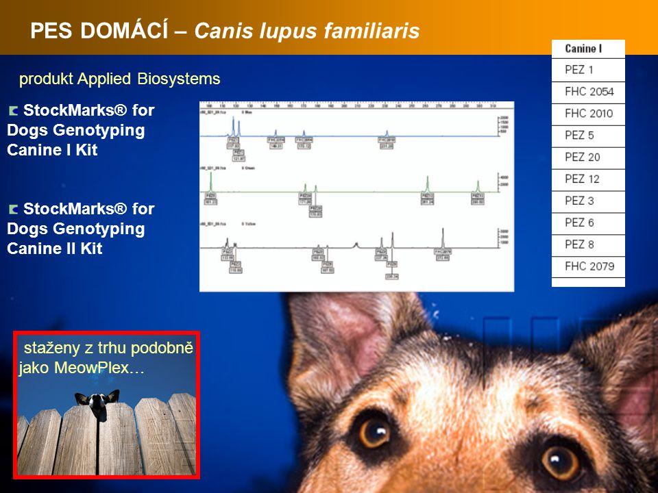 PES DOMÁCÍ – Canis lupus familiaris StockMarks® for Dogs Genotyping Canine I Kit StockMarks® for Dogs Genotyping Canine II Kit produkt Applied Biosystems staženy z trhu podobně jako MeowPlex…