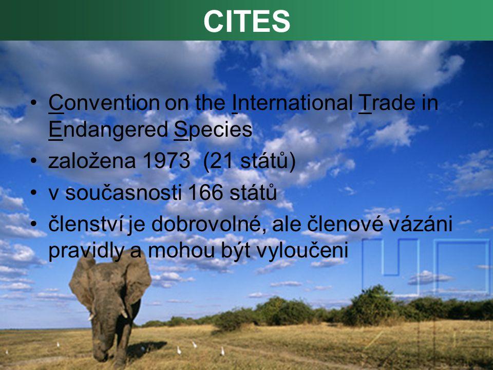 Convention on the International Trade in Endangered Species založena 1973 (21 států) v současnosti 166 států členství je dobrovolné, ale členové vázáni pravidly a mohou být vyloučeni CITES