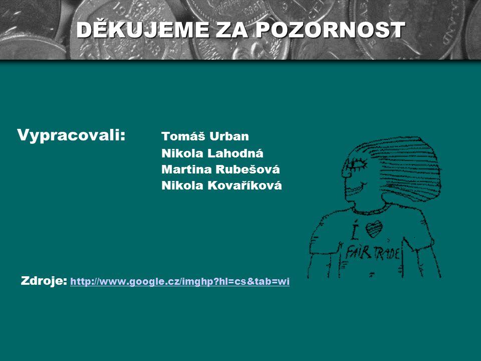 DĚKUJEME ZA POZORNOST Vypracovali: Tomáš Urban Nikola Lahodná Martina Rubešová Nikola Kovaříková Zdroje: http://www.google.cz/imghp?hl=cs&tab=wihttp:/