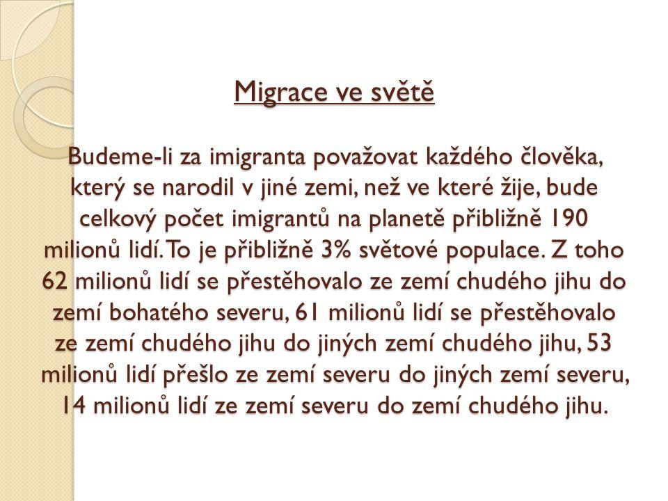 Migrace ve světě Budeme-li za imigranta považovat každého člověka, který se narodil v jiné zemi, než ve které žije, bude celkový počet imigrantů na pl