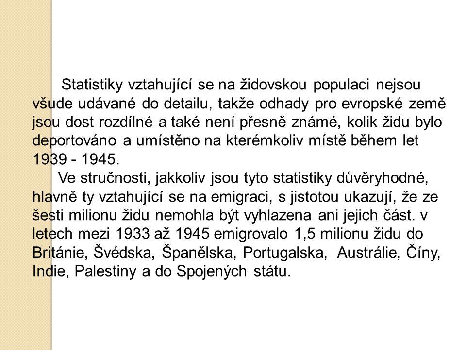 Statistiky vztahující se na židovskou populaci nejsou všude udávané do detailu, takže odhady pro evropské země jsou dost rozdílné a také není přesně z