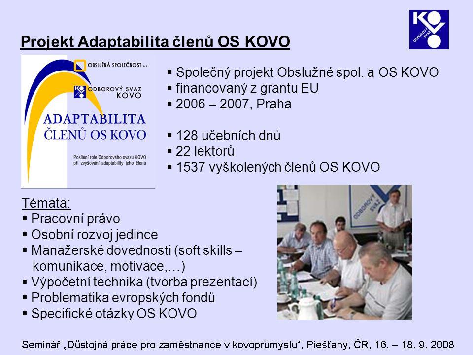 Projekt Adaptabilita členů OS KOVO  Společný projekt Obslužné spol. a OS KOVO  financovaný z grantu EU  2006 – 2007, Praha  128 učebních dnů  22