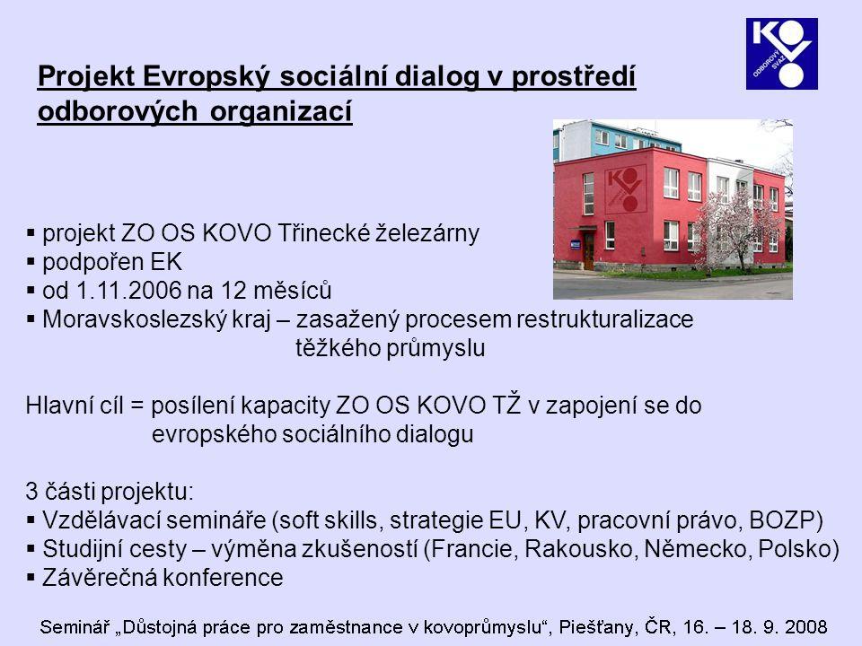 Projekt Evropský sociální dialog v prostředí odborových organizací  projekt ZO OS KOVO Třinecké železárny  podpořen EK  od 1.11.2006 na 12 měsíců  Moravskoslezský kraj – zasažený procesem restrukturalizace těžkého průmyslu Hlavní cíl = posílení kapacity ZO OS KOVO TŽ v zapojení se do evropského sociálního dialogu 3 části projektu:  Vzdělávací semináře (soft skills, strategie EU, KV, pracovní právo, BOZP)  Studijní cesty – výměna zkušeností (Francie, Rakousko, Německo, Polsko)  Závěrečná konference
