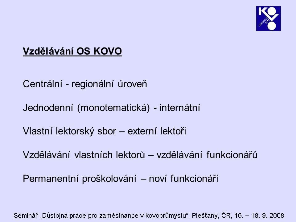 Vzdělávání OS KOVO Centrální - regionální úroveň Jednodenní (monotematická) - internátní Vlastní lektorský sbor – externí lektoři Vzdělávání vlastních