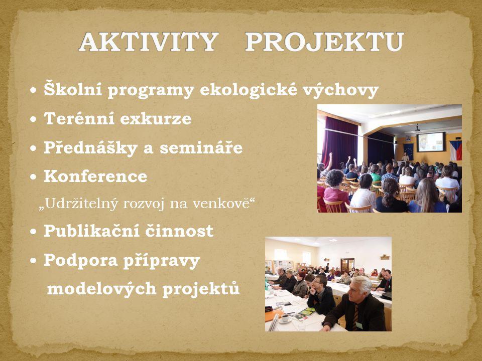 """Školní programy ekologické výchovy Terénní exkurze Přednášky a semináře Konference """"Udržitelný rozvoj na venkově Publikační činnost Podpora přípravy modelových projektů"""
