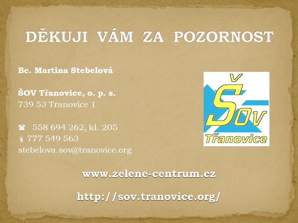 Bc. Martina Stebelová ŠOV Třanovice, o. p. s. 739 53 Třanovice 1  558 694 262, kl. 205  777 549 563 stebelova.sov@tranovice.orgwww.zelene-centrum.cz