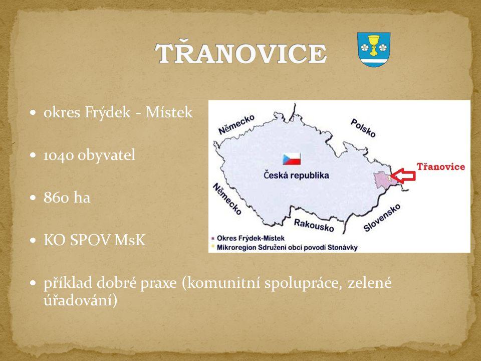 okres Frýdek - Místek 1040 obyvatel 860 ha KO SPOV MsK příklad dobré praxe (komunitní spolupráce, zelené úřadování)