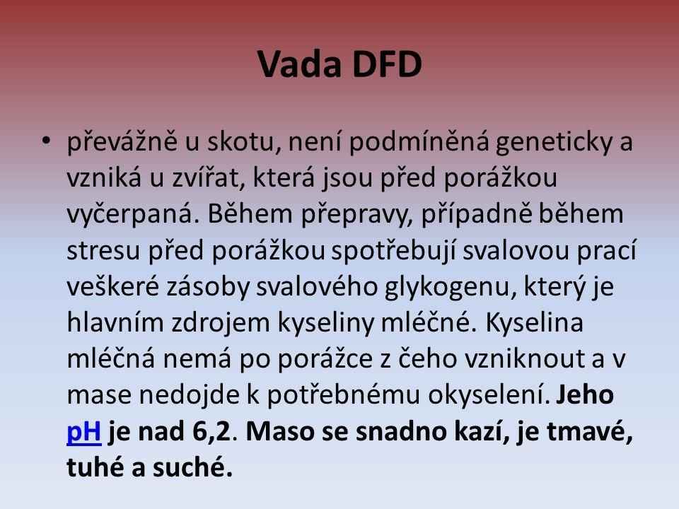 Vada DFD převážně u skotu, není podmíněná geneticky a vzniká u zvířat, která jsou před porážkou vyčerpaná.