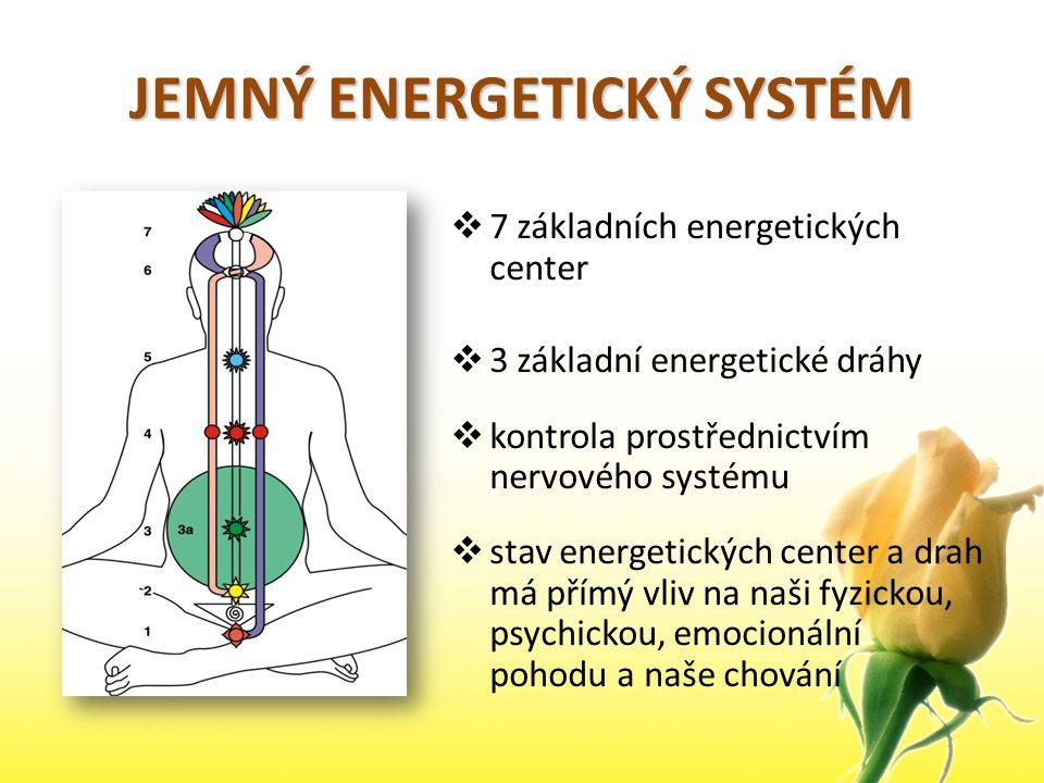 JEMNÝ ENERGETICKÝ SYSTÉM  7 základních energetických center  3 základní energetické dráhy  kontrola prostřednictvím nervového systému  stav energe