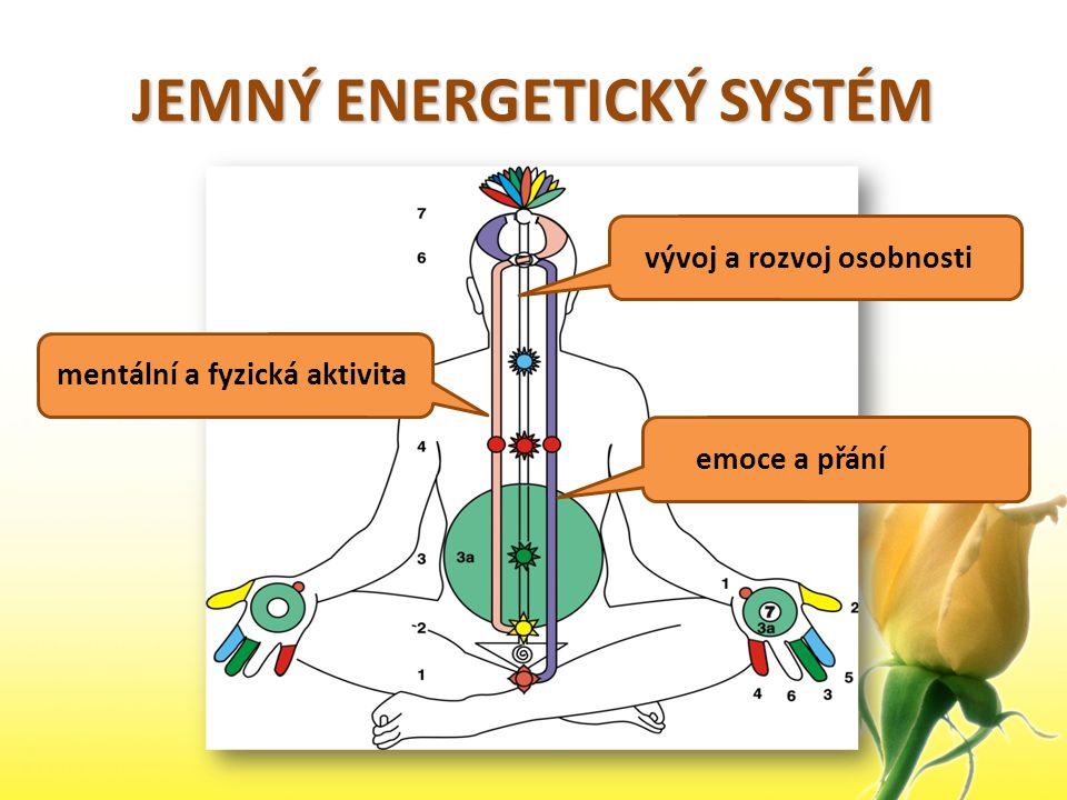 JEMNÝ ENERGETICKÝ SYSTÉM emoce a přání mentální a fyzická aktivita vývoj a rozvoj osobnosti