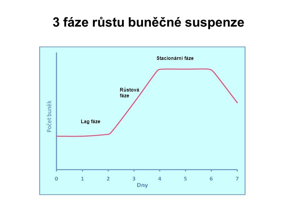 3 fáze růstu buněčné suspenze Lag fáze Růstová fáze Stacionární fáze