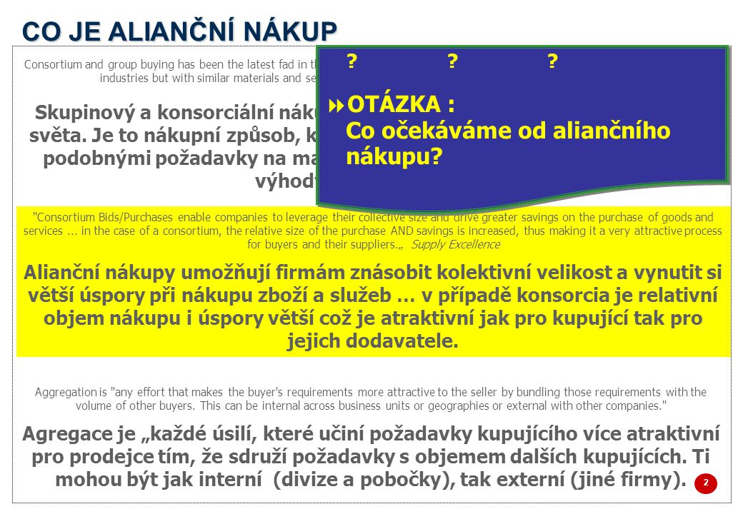 CO JE ALIANČNÍ NÁKUP 2 2 Consortium and group buying has been the latest fad in the corporate world. It is a procurement practice wherein companies of