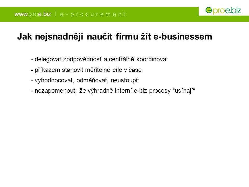 www.proe.biz l e – p r o c u r e m e n t Jak nejsnadněji naučit firmu žít e-businessem - delegovat zodpovědnost a centrálně koordinovat - příkazem sta