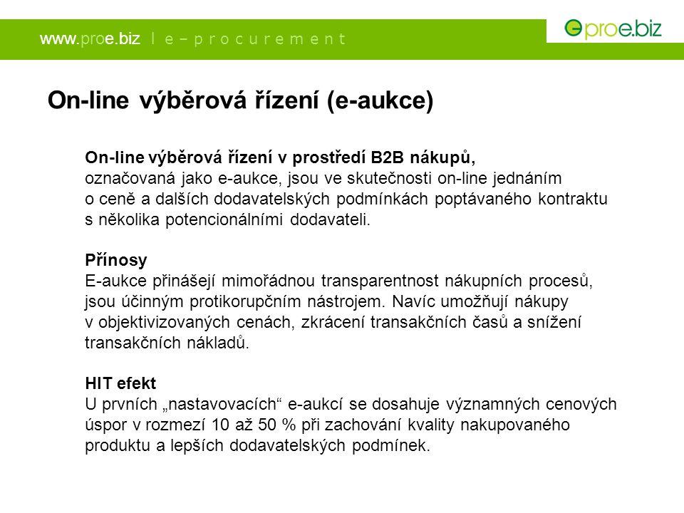 www.proe.biz l e – p r o c u r e m e n t On-line výběrová řízení (e-aukce) On-line výběrová řízení v prostředí B2B nákupů, označovaná jako e-aukce, js