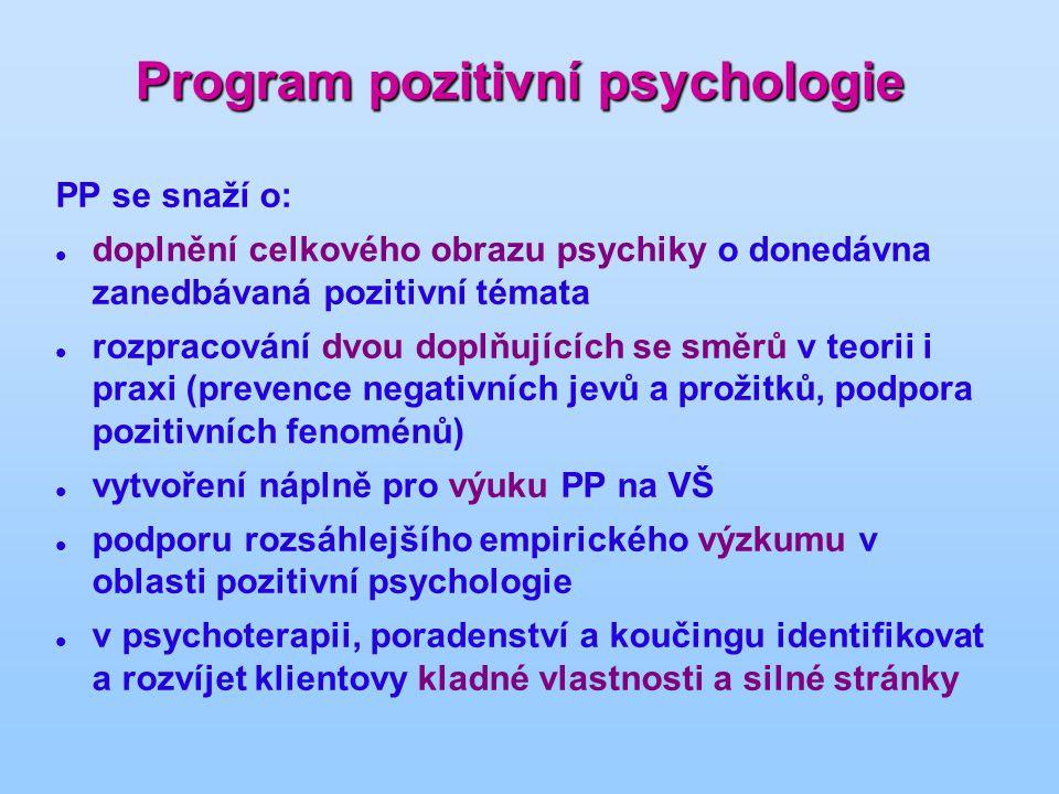 Program pozitivní psychologie PP se snaží o: doplnění celkového obrazu psychiky o donedávna zanedbávaná pozitivní témata rozpracování dvou doplňujících se směrů v teorii i praxi (prevence negativních jevů a prožitků, podpora pozitivních fenoménů) vytvoření náplně pro výuku PP na VŠ podporu rozsáhlejšího empirického výzkumu v oblasti pozitivní psychologie v psychoterapii, poradenství a koučingu identifikovat a rozvíjet klientovy kladné vlastnosti a silné stránky