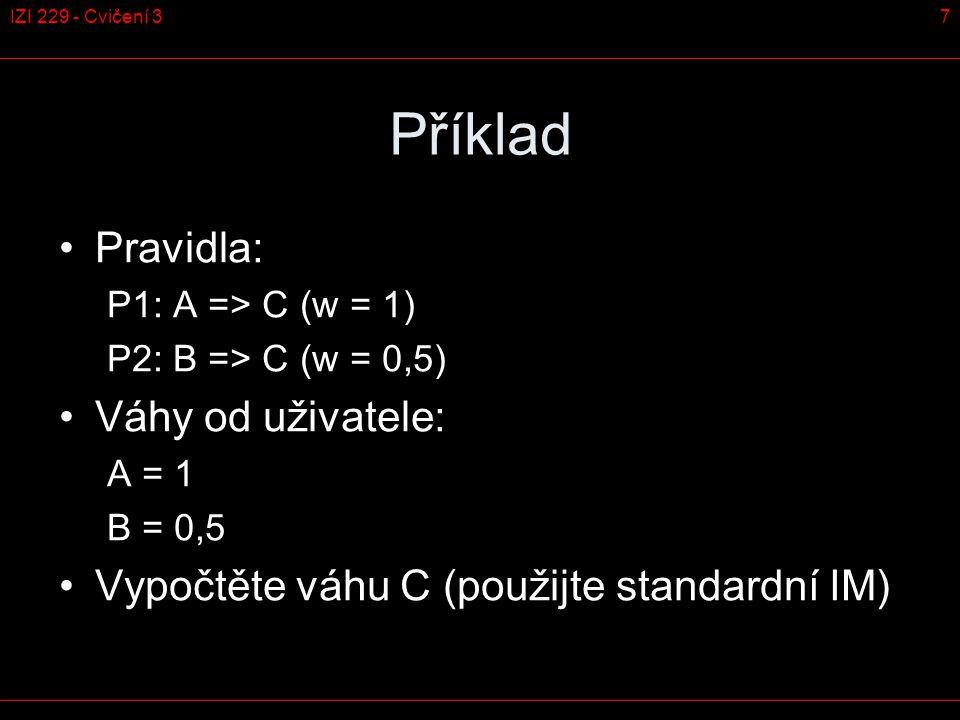 Příklad – postup řešení 8IZI 229 - Cvičení 3 A B C P1 (1)P2 (0,5)