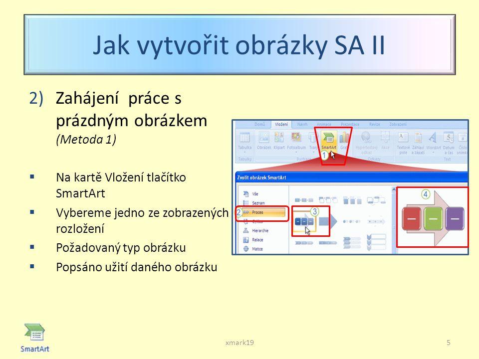 Jak vytvořit obrázky SA II 2)Zahájení práce s prázdným obrázkem (Metoda 1)  Na kartě Vložení tlačítko SmartArt  Vybereme jedno ze zobrazených rozložení  Požadovaný typ obrázku  Popsáno užití daného obrázku xmark195