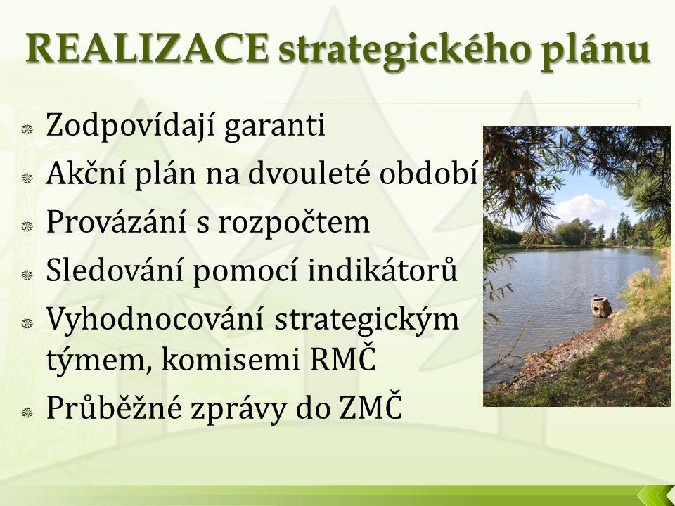  Zodpovídají garanti  Akční plán na dvouleté období  Provázání s rozpočtem  Sledování pomocí indikátorů  Vyhodnocování strategickým týmem, komisemi RMČ  Průběžné zprávy do ZMČ Hezký obrázek z MČ