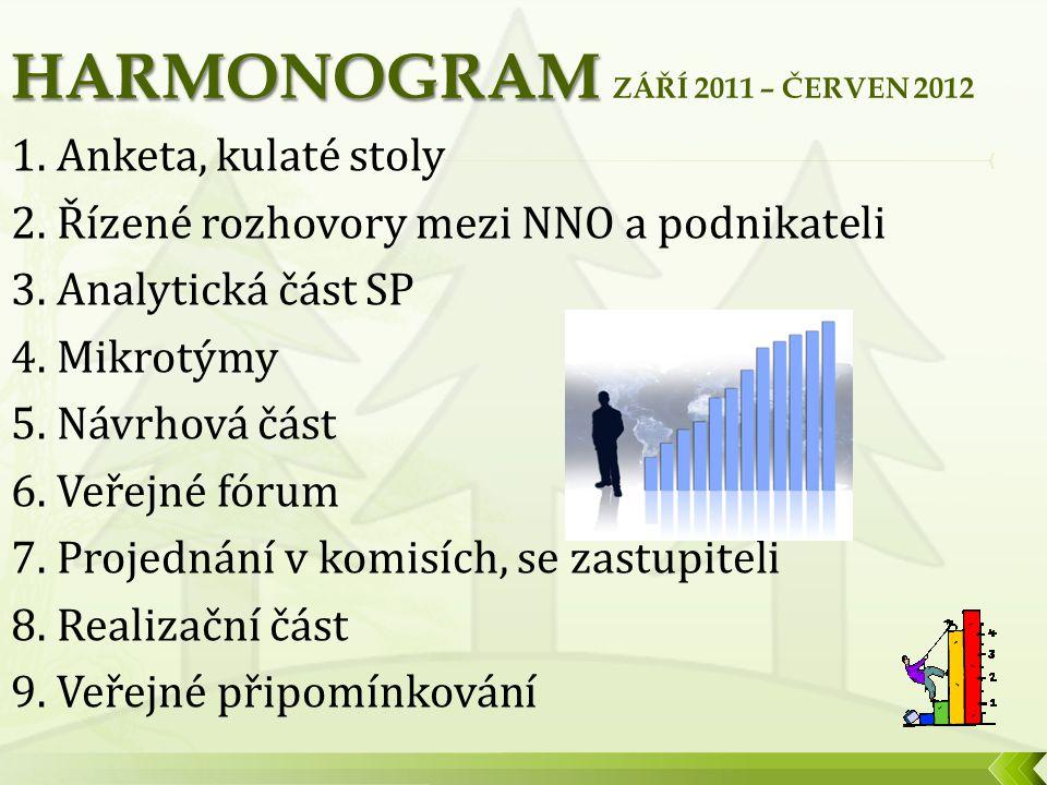 1. Anketa, kulaté stoly 2. Řízené rozhovory mezi NNO a podnikateli 3.