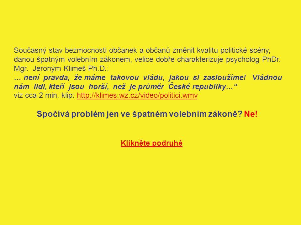 Příčinou je špatná, nedemokratická a nelegitimní Ústava ČR .
