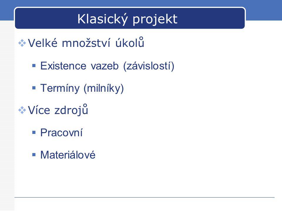 Klasický projekt  Velké množství úkolů  Existence vazeb (závislostí)  Termíny (milníky)  Více zdrojů  Pracovní  Materiálové