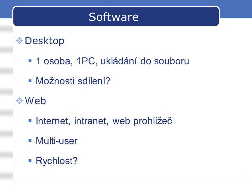 Software  Desktop  1 osoba, 1PC, ukládání do souboru  Možnosti sdílení?  Web  Internet, intranet, web prohlížeč  Multi-user  Rychlost?