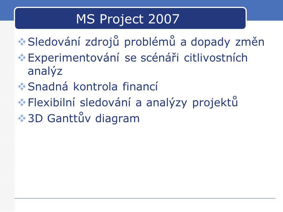 MS Project 2007  Sledování zdrojů problémů a dopady změn  Experimentování se scénáři citlivostních analýz  Snadná kontrola financí  Flexibilní sle