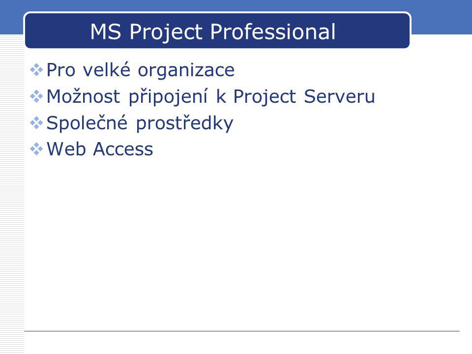 MS Project Professional  Pro velké organizace  Možnost připojení k Project Serveru  Společné prostředky  Web Access