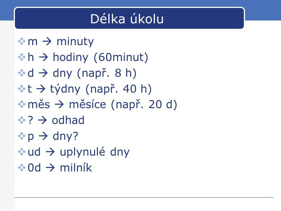 Délka úkolu  m  minuty  h  hodiny (60minut)  d  dny (např. 8 h)  t  týdny (např. 40 h)  měs  měsíce (např. 20 d)  ?  odhad  p  dny?  ud