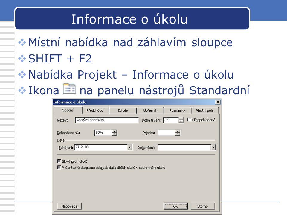 Informace o úkolu  Místní nabídka nad záhlavím sloupce  SHIFT + F2  Nabídka Projekt – Informace o úkolu  Ikona na panelu nástrojů Standardní