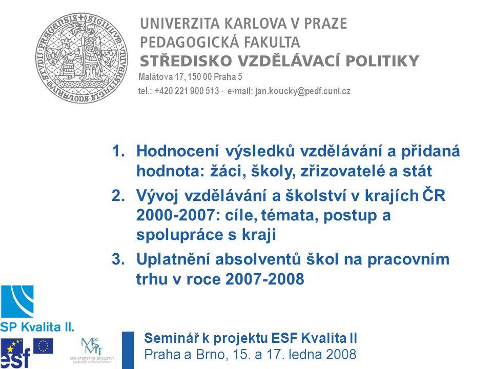 Malátova 17, 150 00 Praha 5 tel.: +420 221 900 513 · e-mail: jan.koucky@pedf.cuni.cz 1.Hodnocení výsledků vzdělávání a přidaná hodnota: žáci, školy, zřizovatelé a stát 2.Vývoj vzdělávání a školství v krajích ČR 2000-2007: cíle, témata, postup a spolupráce s kraji 3.Uplatnění absolventů škol na pracovním trhu v roce 2007-2008 Seminář k projektu ESF Kvalita II Praha a Brno, 15.