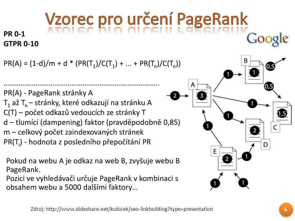 4 Zdroj: http://www.slideshare.net/kubicek/seo-linkbuilding?type=presentation