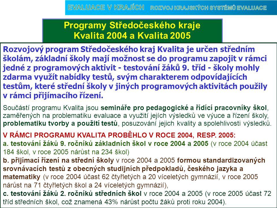 Programy Středočeského kraje Kvalita 2004 a Kvalita 2005 Vyhodnocení Rozvojový program Středočeského kraj Kvalita je určen středním školám, základní školy mají možnost se do programu zapojit v rámci jedné z programových aktivit - testování žáků 9.