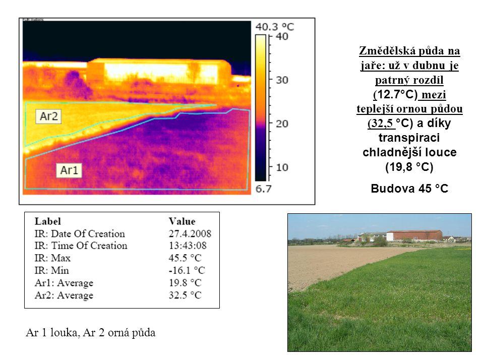 Ar 1 louka, Ar 2 orná půda Změdělská půda na jaře: už v dubnu je patrný rozdíl ( 12.7°C) mezi teplejší ornou půdou (32,5 °C) a díky transpiraci chladn