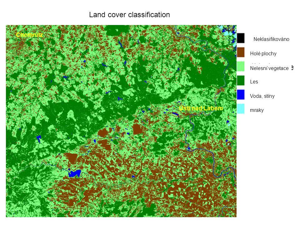 Neklasifikováno Holé plochy Nelesní vegetace Les Voda, stíny mraky Land cover classification Ústí nad Labem Chemnitz