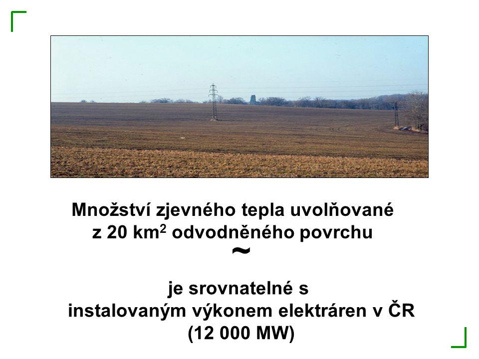 Množství zjevného tepla uvolňované z 20 km 2 odvodněného povrchu ~ je srovnatelné s instalovaným výkonem elektráren v ČR (12 000 MW)