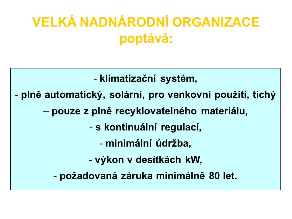 VELKÁ NADNÁRODNÍ ORGANIZACE poptává: - klimatizační systém, - plně automatický, solární, pro venkovní použití, tichý – pouze z plně recyklovatelného m