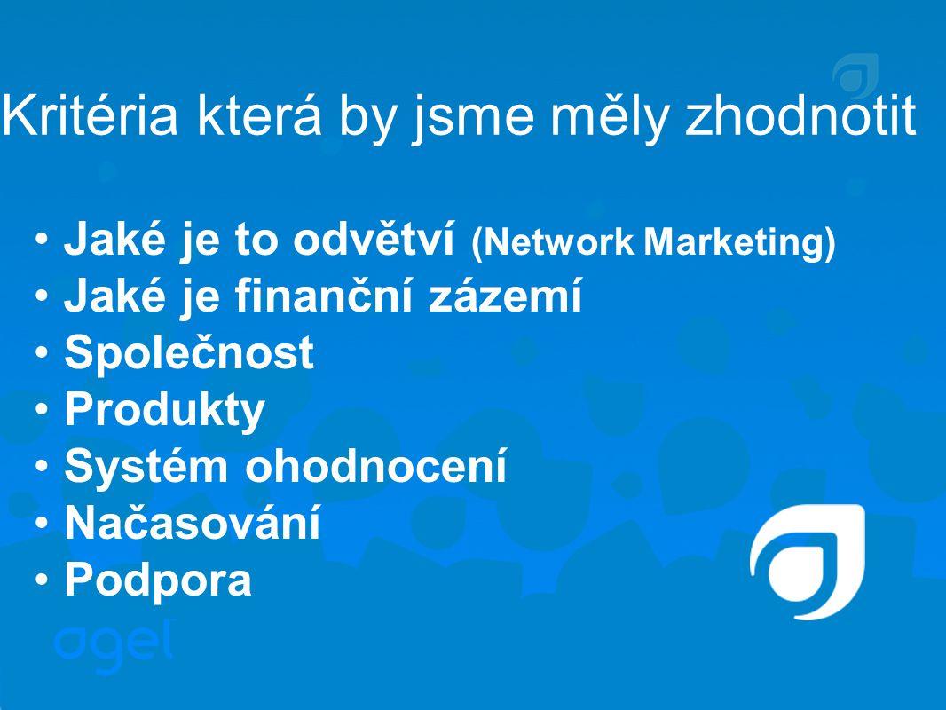 Kritéria která by jsme měly zhodnotit Jaké je to odvětví (Network Marketing) Jaké je finanční zázemí Společnost Produkty Systém ohodnocení Načasování Podpora