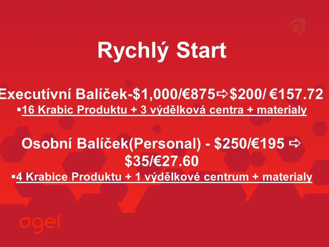 Rychlý Start Executívní Balíček-$1,000/€875  $200/ €157.72  16 Krabic Produktu + 3 výdělková centra + materialy Osobní Balíček(Personal) - $250/€195  $35/€27.60  4 Krabice Produktu + 1 výdělkové centrum + materialy