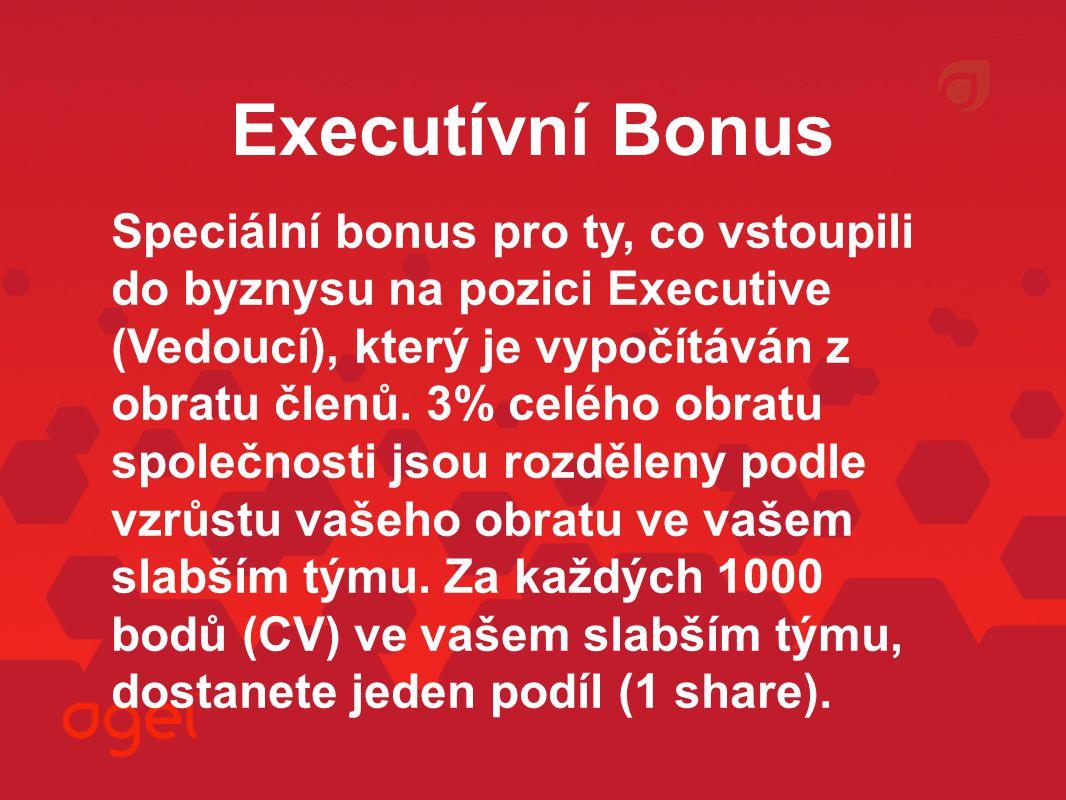Executívní Bonus Speciální bonus pro ty, co vstoupili do byznysu na pozici Executive (Vedoucí), který je vypočítáván z obratu členů.
