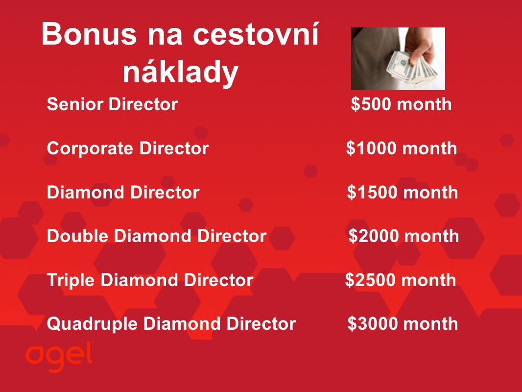 Bonus na cestovní náklady Senior Director $500 month Corporate Director $1000 month Diamond Director $1500 month Double Diamond Director $2000 month T