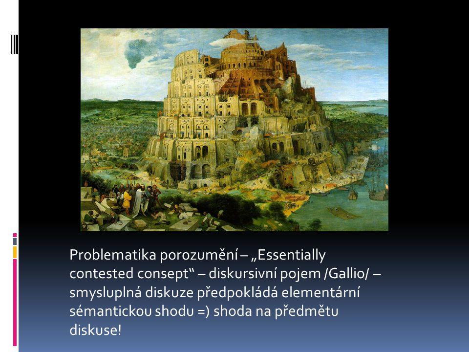 """Problematika porozumění – """"Essentially contested consept – diskursivní pojem /Gallio/ – smysluplná diskuze předpokládá elementární sémantickou shodu =) shoda na předmětu diskuse!"""